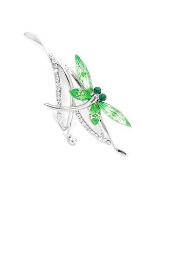 Glamorousky green Dragonfly Brooch with Green Austrian Element Crystals B7DD1ACD7FD234GS_1