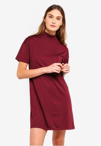 ZALORA BASICS red Basic Polo Neck T-Shirt Dress 476B7AA091C603GS_1
