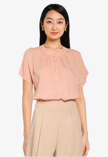 ZALORA BASICS pink Mandarin Collar Pleated Blouse 1E554AA641FBC8GS_1