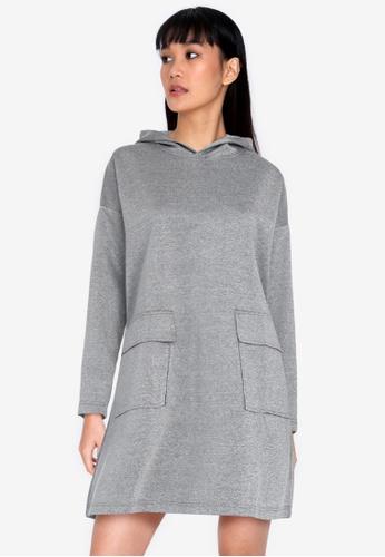 ZALORA BASICS grey Oversized Hooded Dress 5E2FEAAB35C270GS_1