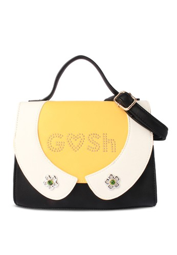 GOSH black and yellow Amaryllis 500 Handbag 1DBEFAC49F6DB7GS_1