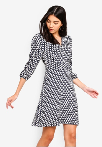 ZALORA black and multi Fit And Flare Wrap Dress E50F4AAB3D0D1CGS_1