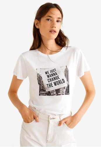 Mango white Photo Print T-Shirt 99857AABCB86B1GS_1