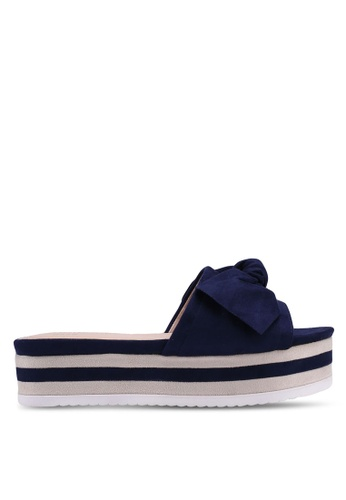 Nose navy Solid Colour Wedge Heel Sliders D9273SH2FC258DGS_1