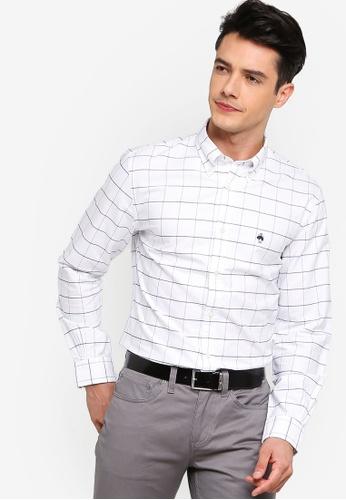 Brooks Brothers 白色 格紋牛津襯衫 8F93DAAD9C9870GS_1