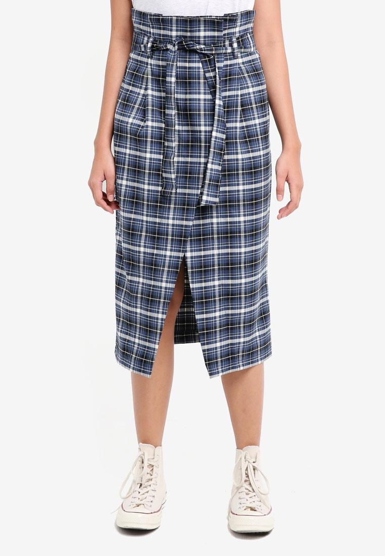 Navy TOPSHOP Skirt Midi Check Blue Wrap Paperbag vqwX8vr