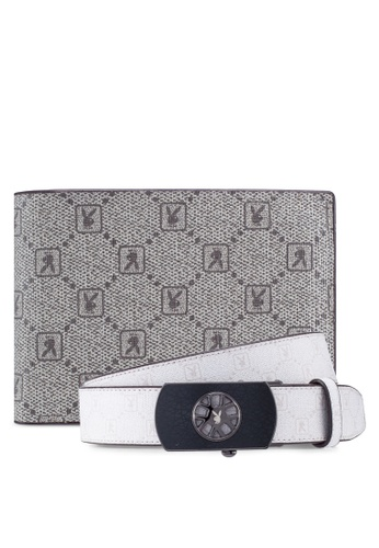 Playboy grey and white Belt & Wallet Gift Set 7AA7EACE9BEB1AGS_1