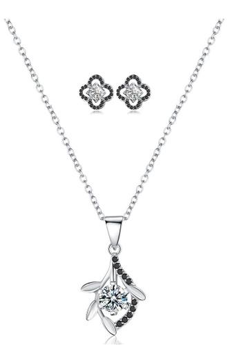 A-Excellence white Premium Elegant White Sliver Necklace Earring Set 1121BAC04C757BGS_1