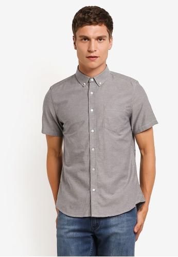 Burton Menswear London grey Grey Short Sleeve Oxford Shirt BU964AA0RM6OMY_1