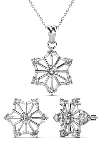 Her Jewellery silver Snowflakes Set - Made with Premium grade crystals from Austria B2D43AC118306FGS_1