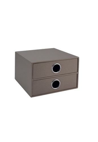 Milton Home grey SET OF 2 Milton Home MH BD0481-G 2 Drawer Case  15X16X10 / Home Organizer / Space Saver / Storage 210C3HLDB7A47AGS_1