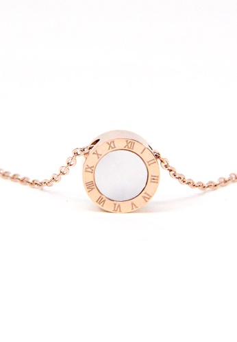 ASLLY pink and gold Unchanging Vows│Roman numerals Necklace│Cavicle Chain 13D4DAC0E39FC9GS_1