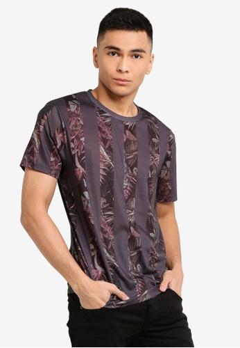 a7faa0a3124 Burton Menswear London grey Dark Grey Floral Vertical Stripe Print T-Shirt  0005CAA59536C3GS_1