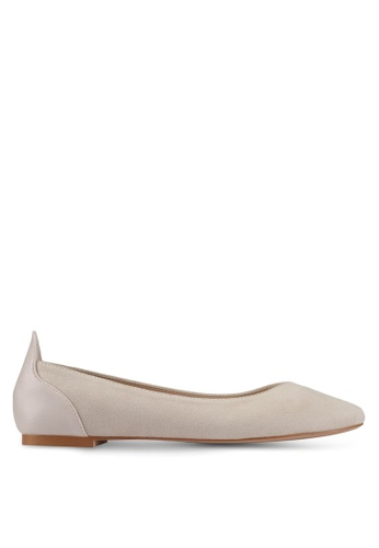 ZALORA beige Mixed Material Detail Flats C13CESHEF0A54BGS_1