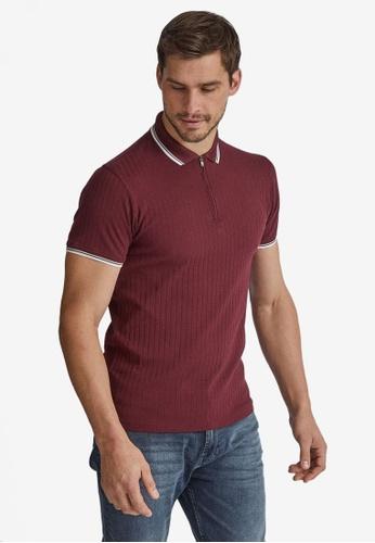 Burton Menswear London red Burgundy Rib Zip Neck Polo Shirt ECD4BAA8AF4B9EGS_1