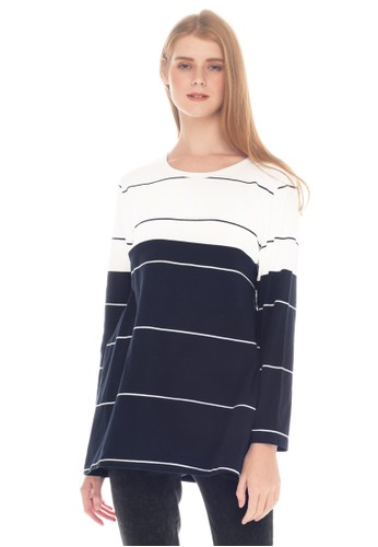 MOOIMOM white MOOIMOM Navy & White Striped Cotton Nursing Top Couple Set Baju Hamil Menyusui Couple Ibu Anak - White F0911AAAD156E8GS_1