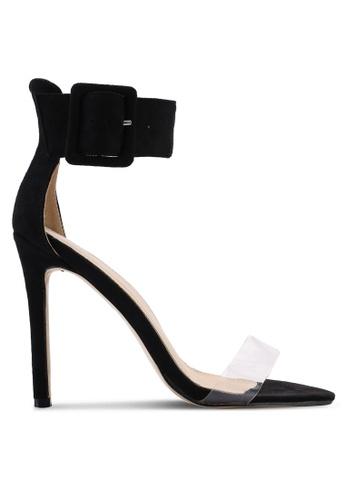 Public Desire 黑色 透明繞帶高跟鞋 F3E77SHF04A8D9GS_1