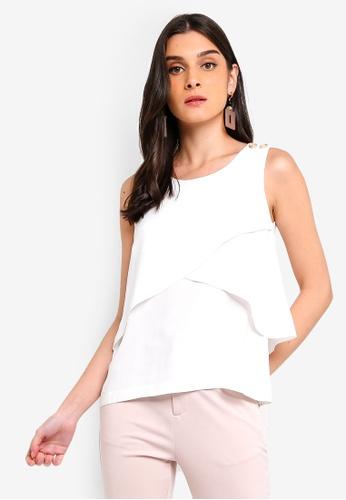 ZALORA 白色 鈕釦層次無袖上衣 04314AAC7724D4GS_1