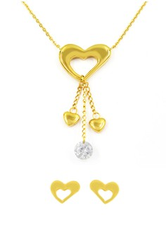 Gold Sassy Heart Jewelry Set (18K Gold Plated)