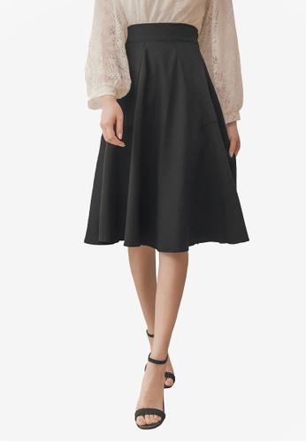 Yoco black Midi Skirt With Box Pleats 55D49AA9A08FF5GS_1