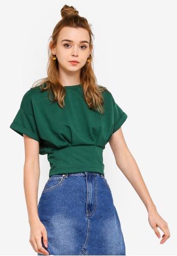Something Borrowed 綠色 腰圍ed T恤 With Darts F721EAA6C1FF87GS_1