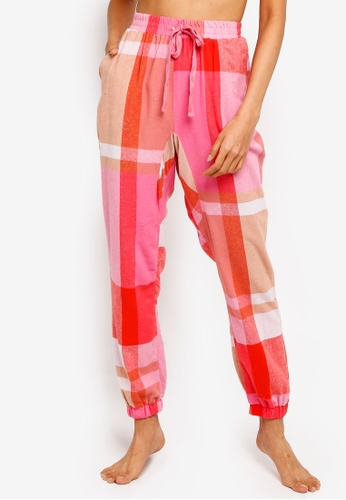 Cotton On Body pink Dropped Flannel Pants 1FC7CAAF67B91AGS_1