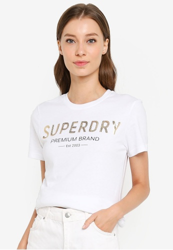 SUPERDRY white Premium Sequin Entry Tee CD4CCAA59603BEGS_1