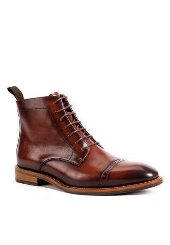 Twenty Eight Shoes Cognac Vintage Leather Brogue Boot G802-6 62DBASHE598041GS_1