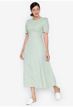 ed3b5ed27c73 the___edit green Isabella Gathered Sleeves Maxi Dress 040E3AA23AAF23GS_1