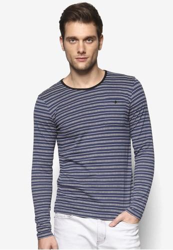 Blue Striped Slim Fit Long京站 esprit Sleeve Tee, 服飾, 條紋T恤