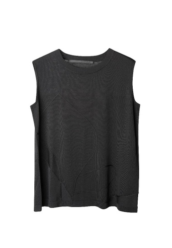 Giordano Ladies black Sleeveless Abstract Leaf Jacquard Knitted Top 438D8AA2CD7EBAGS_1