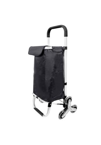 HOUZE black HOUZE - Aluminium Square Frame Stair Climber Shopping Trolley (Black) C0426HL030C5F3GS_1