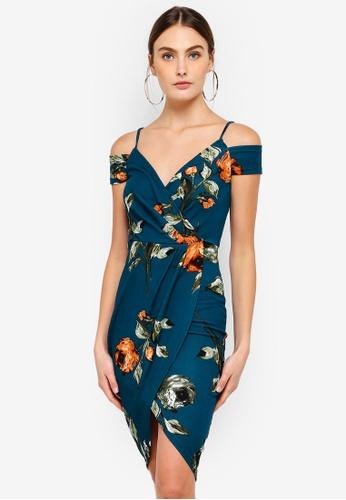 AX Paris blue Floral Midi Wrap Dress 42D2EAA8A34395GS_1