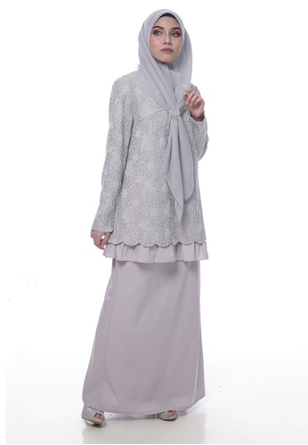 Baju Kurung Edwina from Denai Boutique in Grey