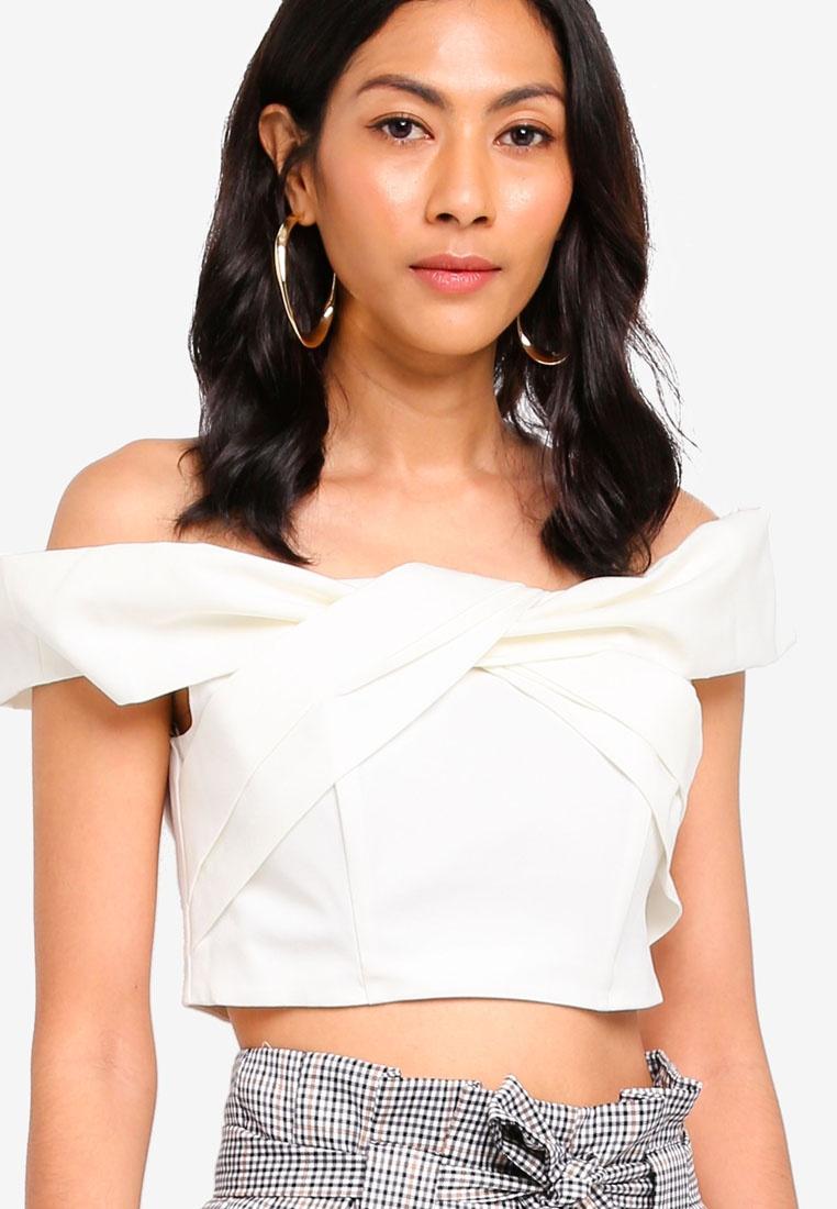 Miss Structured Bardot Selfridge White Petite Ivory Twist Top qUUWrtwn