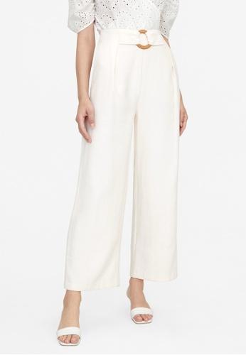 Pomelo beige Buckle Accent Wide Leg Pants - Cream 369BDAA01B7FFEGS_1