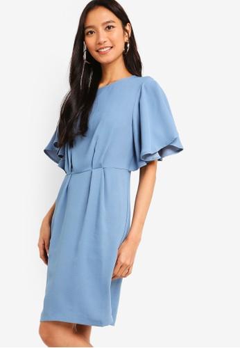 ZALORA blue Flare Sleeves Sheath Dress 0092CAA5488CA4GS_1