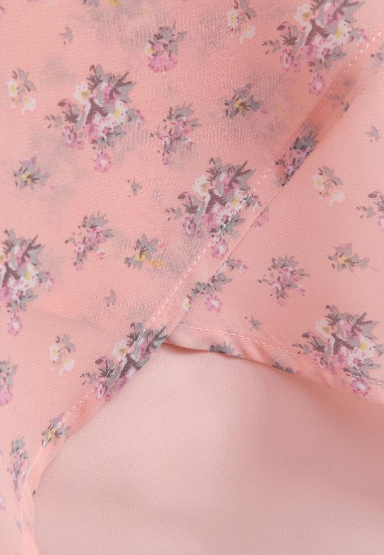 Back Pink Chiffon Top Yoco Split Floral gOwqxZ