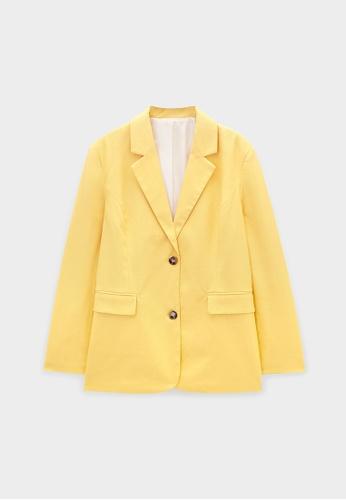 Pomelo yellow Double Front Button Blazer - Yellow B4110AA8B6DD65GS_1