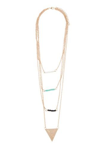 層次esprit 衣服串珠三角形吊墜項鍊, 飾品配件, 飾品配件