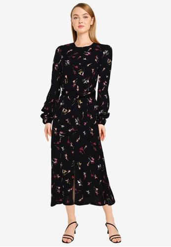French Connection black Chiara Drape Midaxi Dress 29E97AA66EF566GS_1