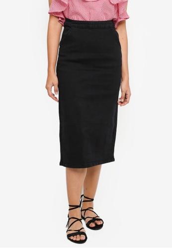 Something Borrowed black Denim Midi Skirt 5B1B0AA0893539GS_1