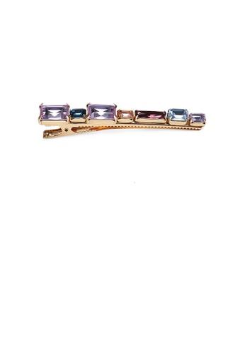 Glamorousky purple Simple and Fashion Plated Gold Geometric Strip Purple Cubic Zirconia Hair Clip FA5E4ACE79B9F1GS_1
