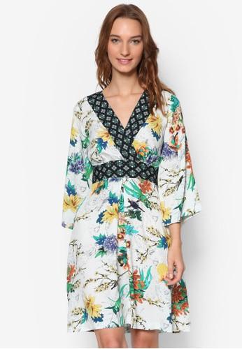 撞色裹飾花卉印花esprit outlet 台中和風連身裙, 服飾, 洋裝