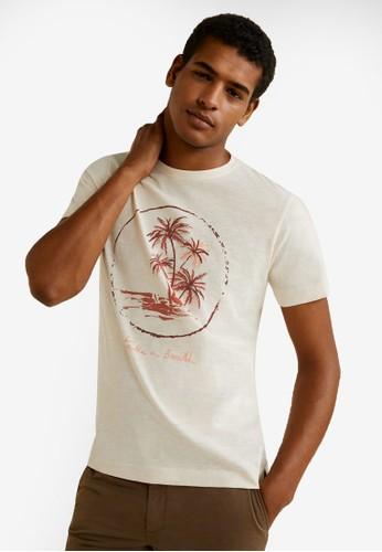 MANGO Man white Cotton Printed T-Shirt F4AB0AA60864BCGS_1
