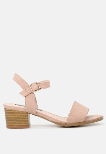 London Rag pink Block Heel Sandals with Buckle Strap E4AFESH91DEA5FGS_1