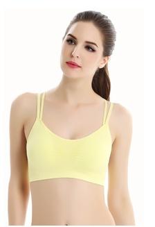 669d1b6191 Women s Padded Wire Free Strappy Cross Y Back Yoga Sports Bra (Yellow)  7C4DEUS1093560GS 1