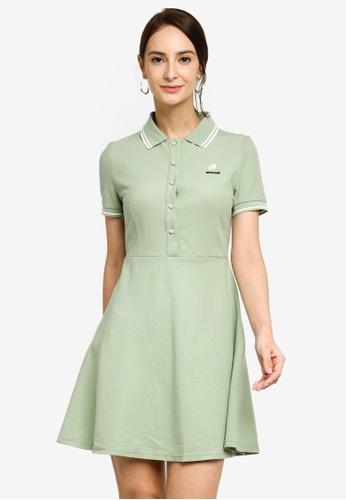 Hopeshow green Button Slim Waist Polo Mini Dress 22D5DAAC1D2CB0GS_1