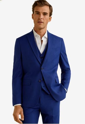 Mango Man 藍色 修身西裝外套 C5FF3AA334FAC2GS_1