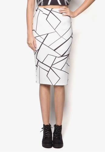 幾何圖形鉛筆短裙, 服zalora 心得飾, 服飾